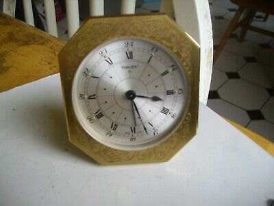 "Lovely Swiss  ""Swiza 8"" day brass bedroom alarm clock working order."