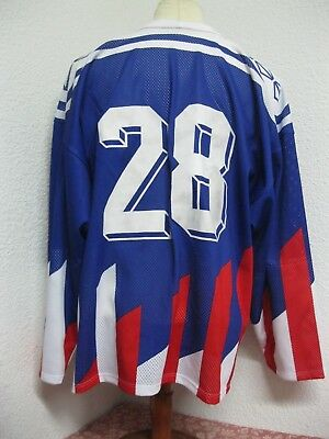 Ancien MAILLOT TACKLA HOCKEY sur GLACE #28 France USA Chandail Jersey Finlande