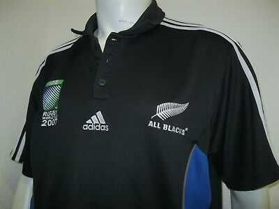 Ancien MAILLOT ADIDAS ALL BLACKS NEW ZEALAND COUPE DU MONDE RUGBY 2007 IRB Shirt