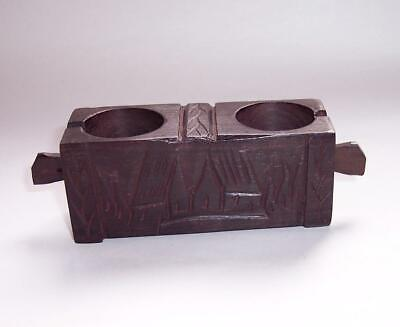 Antique/Vintage Wooden EBONY Wood DOUBLE CANDLE HOLDER Hand Carved Treen
