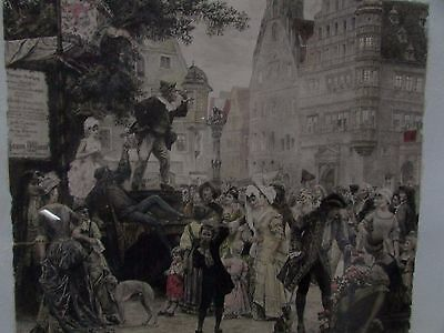 Antique Hand Coloured Lithograph Etching German Street Scene Uneditioned Proof