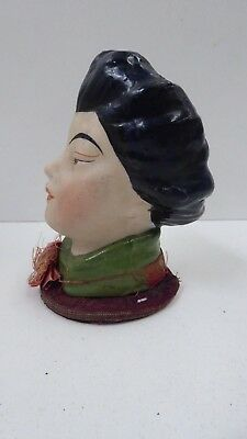 Antique Victorian Sewing Pin Cushion Stand Porcelain Oriental Lady Head