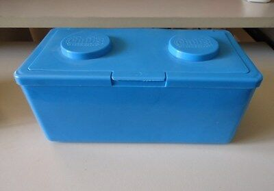 LARGE DARK or LIGHT BLUE LEGO SHAPED STACKABLE STORAGE CONTAINER - CRAFTS