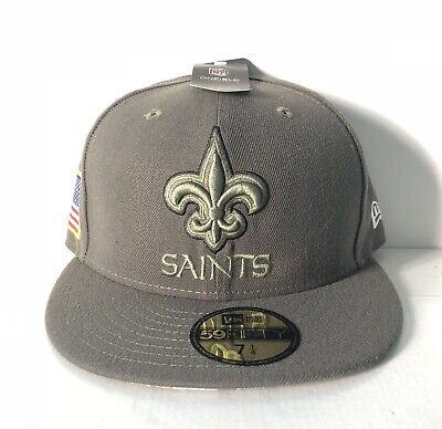 2deb7ca9e6ff1 New Orleans Saints New Era NFL Salute Service 59FIFTY Fitted Hat Sz 7 1 8