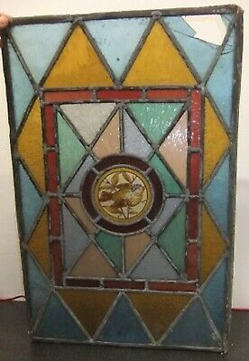 Used, 2 x Victorian Stained Glass Window Panels.