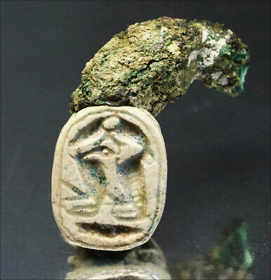Egyptian scarab with remnants of original ring. 1650 B.C, 3698