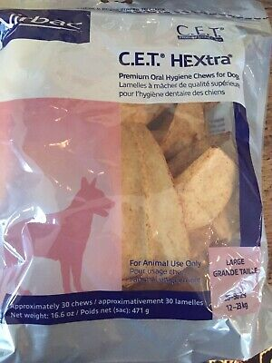 1 Bag CET Premium Enzymatic Hextra Oral Hygiene Rawhide Chews for Dogs large
