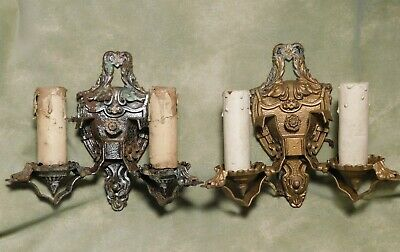 PAIR of Art Nouveau Sconce Light Fixtures Antique Victorian Double Arm Set Wall