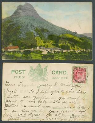 South Africa Kloof Neck Lion's Head near Cape Town 1906 Old Hand Tinted Postcard