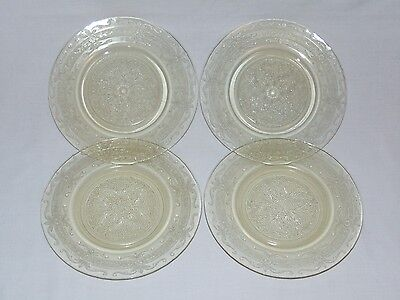 VINTAGE AMERICAN YELLOW DEPRESSION GLASS 1930's CAKE DESSERT PLATE SET  4 PLATES