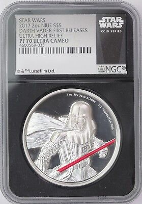 2017 Niue Star Wars Darth Vader UHR 2 oz Silver NGC PF70 UCam ER Black Label