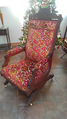 Antique rocking chair wood rocker rare vintage on wheels pickup only Illinois