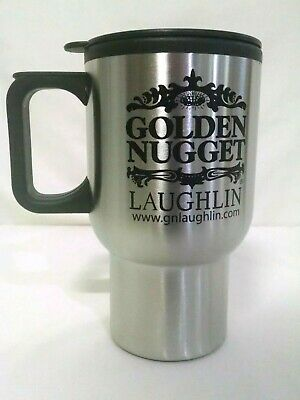 Golden Nugget Casino Travel Mug Laughlin Silver and Black 6 Inches Tall