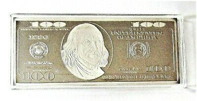 4 Ounce Silver $100 Franklin Pure Silver Bar Uncirculated #900016