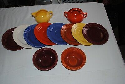 BAUER China Dishes Saucers Creamer & Sugar Multi Colored Lot 12 pcs Vintage Exc