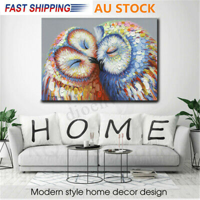 AU 50*70cm Owl Couple Canvas Painting Print Picture Hang Wall Home Wall Decor