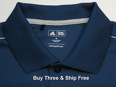 Adidas Golf Men's M Short Sleeve Solid Blue 100% Polyester Polo Shirt 5684