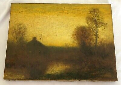 Antique Autumn Landscape Oil On Canvas Painting By Artist Bruce Crane