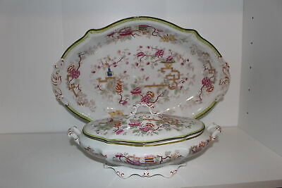 Antique W.h. Grindley Hand Painted Chinese/asian Motif Platter & Serving Bowl