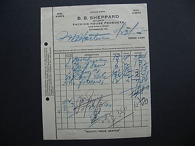 B B Sheppard  Packing House Products 4108 Park Ave Richmond Virginia