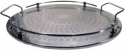 Round Drink Serving Tray Stainless Cavalier Tableware 60s Vintage 35 cm