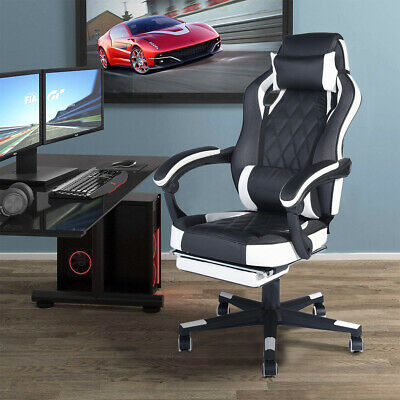 Reclining Swivel Gaming Chair Ergonomic Recliner with Footrest Neck Pillow Black