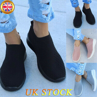 Women's Breathable Sneakers Trainers Sport Elastic Mesh Pumps Slip On Sock Shoes