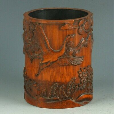 Chinese Exquisite Bamboo Wood Handwork Carved People & Crane & Tree Brush Pot