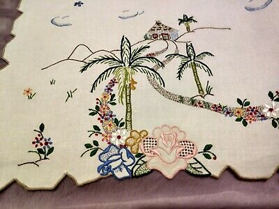 """Beautiful Colorful Embroidered Madeira Linen Table Runner Island Theme 27""""x13.5"""""""