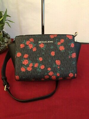 b68c7ae019cd27 NWT MICHAEL KORS SELMA MEDIUM MESSENGER BAG MK Signature BLACK RED ROSE
