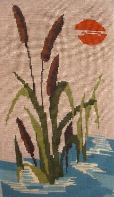 """Vintage completed wool needlepoint Cattail swamp plant sunset tapestry 15.5""""x9"""""""