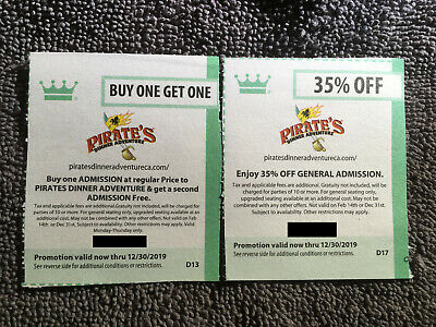 Lot of Pirate's Dinner Adventure Coupons valid through 12/30/19