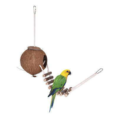 Bird House Nest Coconut Hideaway Perch with Ladder Bird Cage Accessories B8F5