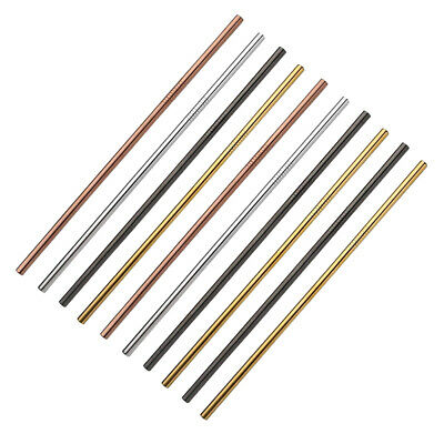 Useful Reusable 304 Stainless Steel Straw Milk Tea Straws with Brush Party V9M9