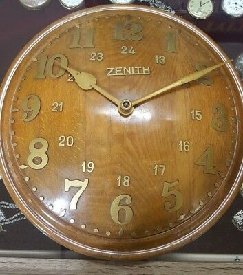 Very Rare Antique Wall Clock ZENITH 18 day 1920s Domed Oak Wooden 24 Dial Swiss