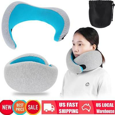Portable Soft Memory Foam Travel Pillow w/ Bag Head Neck Chin Supporting Pillow