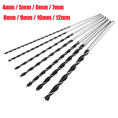 7-Pack Different Size Brad Point Wood Drill Bit Set Tool Metal Extra Long 4-12mm