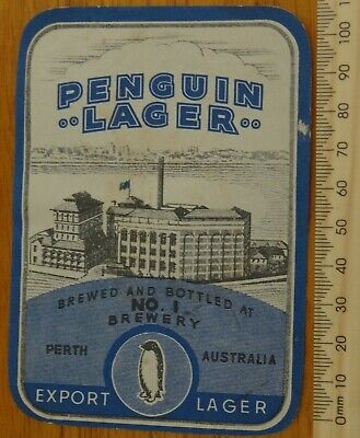 1 x RETRO PENGUIN LAGER WESTERN AUSTRALIA COLLECTABLE BEER LABEL
