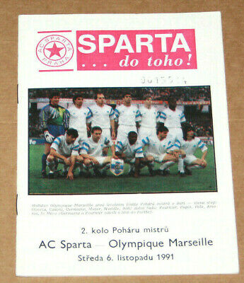 Football Programme Sparta Praha V Olympique Marseille Om Champions Cup 1991-92