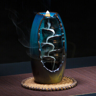 Ceramic Waterfall Backflow Incense Burner Incenser Holder & 10 Cone Incense