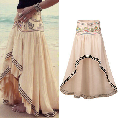 65d096883 Womens Gypsy Boho Tribal Floral Skirt Maxi Summer Beach Skirt Long Casual  Dress