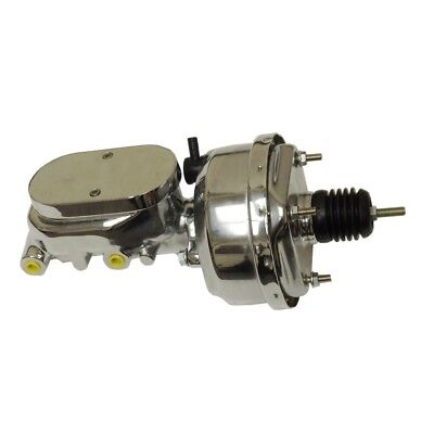 "8"" Street Rod Single Power Brake Booster W/ Smooth Top Master Cylinder Chrome US"