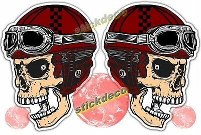 Biker Crâne autocollant stickers motorcycle cafe racer chopper bobber custom