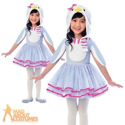 Girls Penguin Tutu Costume Kids Animal Bird Childs Fancy Dress Outfit Christmas