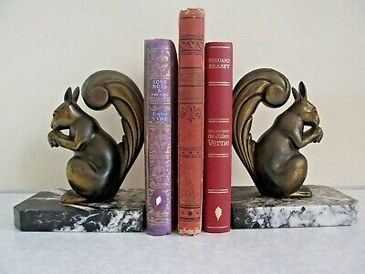 Pair Signed Franjou Vintage French Art Deco Squirrel Book Ends Marble Base 1152