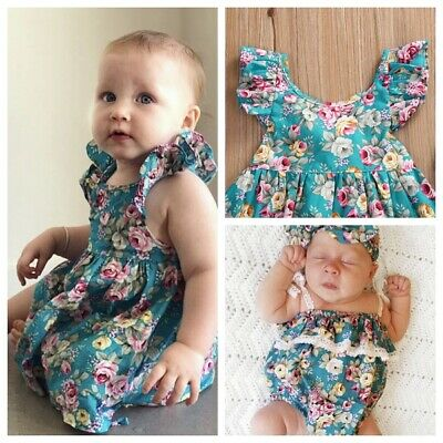 Baby Girl Newborn Lace Cotton Vintage Romper One-piece Outfit Headband Set