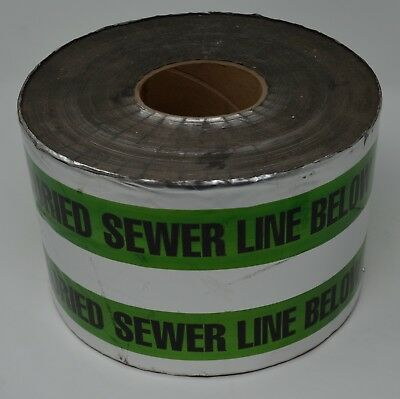 "6"" x 1000' Green Poly/Aluminum Caution Buried Sewer Line Below Detectable Tape"