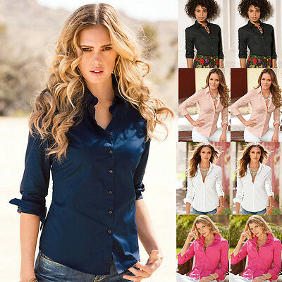 NEW Womens V Down Collar Long Sleeve Blouse Ladies Office Work Shirts Clothing