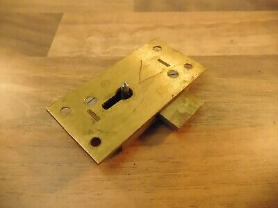 Salvaged Straight Cabinet Lock In Brass 2 Lever