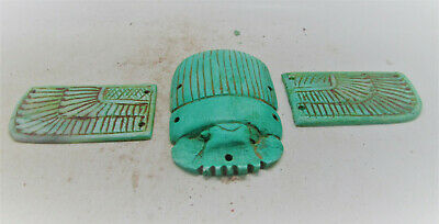 Beautiful Ancient Egyptian Faience Winged Scarab With Heiroglyphics